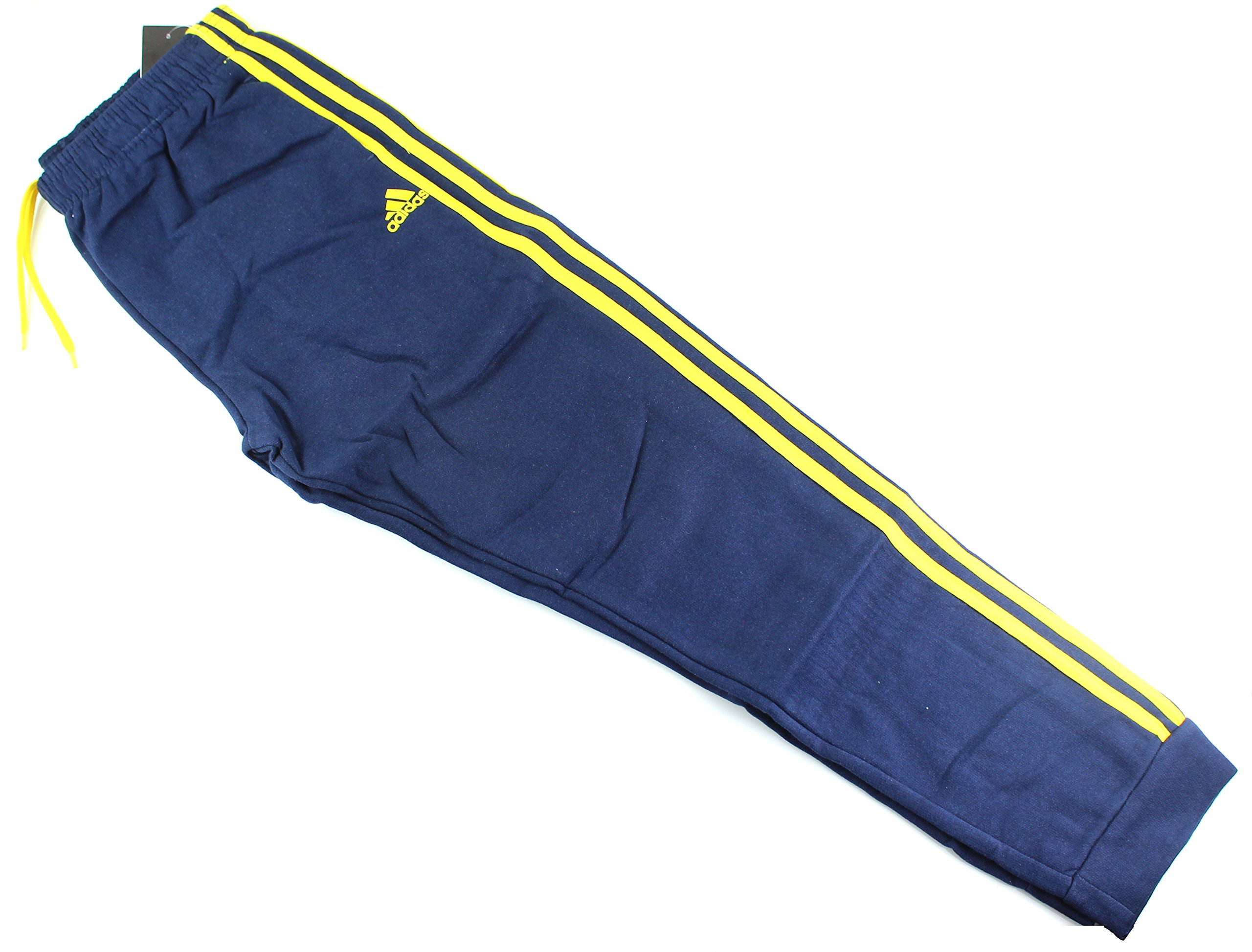 Outerstuff adidas Youth Fleece Collection (Youth Xlarge 18/20, Fleece Tapered Hem Sweatpants, Navy/Yellow) by Outerstuff