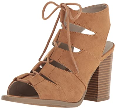 Amazon.com | Rampage Women's Emmie Lace Up Chunky Heel Peep Toe ...