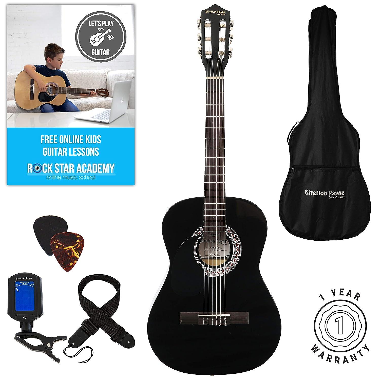Linke Hand Akustische Gitarre Paket 3/4Größe (36'Zoll) klassischen Nylonsaiten Pack schwarz Stretton Payne SP34LH
