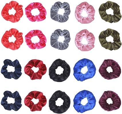 Gomas del Pelo para Mujeres - 10 Colors Scrunchies para el pelo Velvet Elástico para Niñas Accesorios para el Cabello, 20 piezas: Amazon.es: Belleza