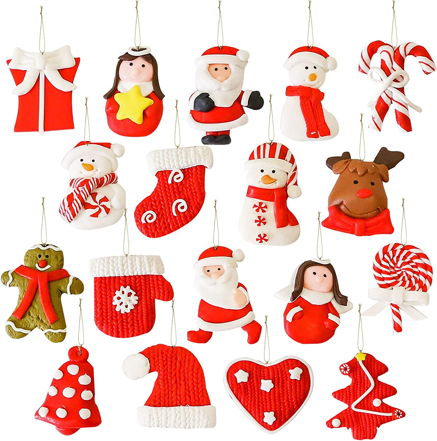 GiveU Christmas Ornaments Pendant,18 Pack Gingerbread/Snowman/Angel/Santa Claus Clay Characters, Hanging Ornaments for Christmas Tree Decor, Holiday, Season and Party Decoration Celebrations