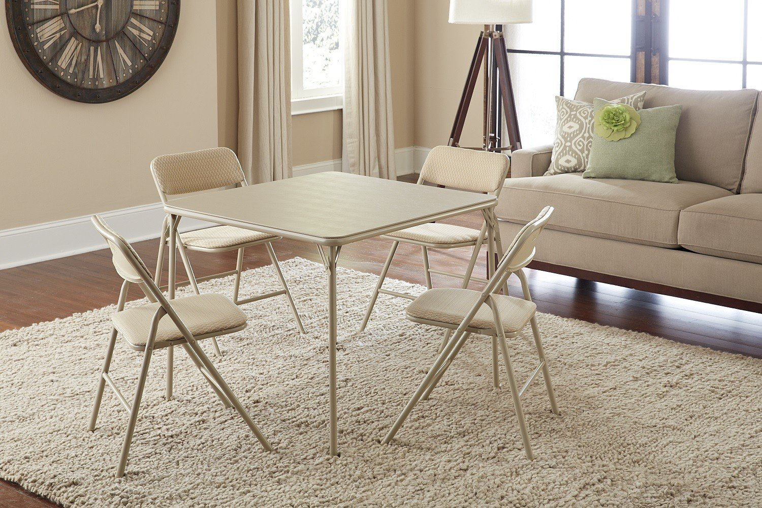 Cosco 5 Piece Folding Table And Chair Set Tan Ebay