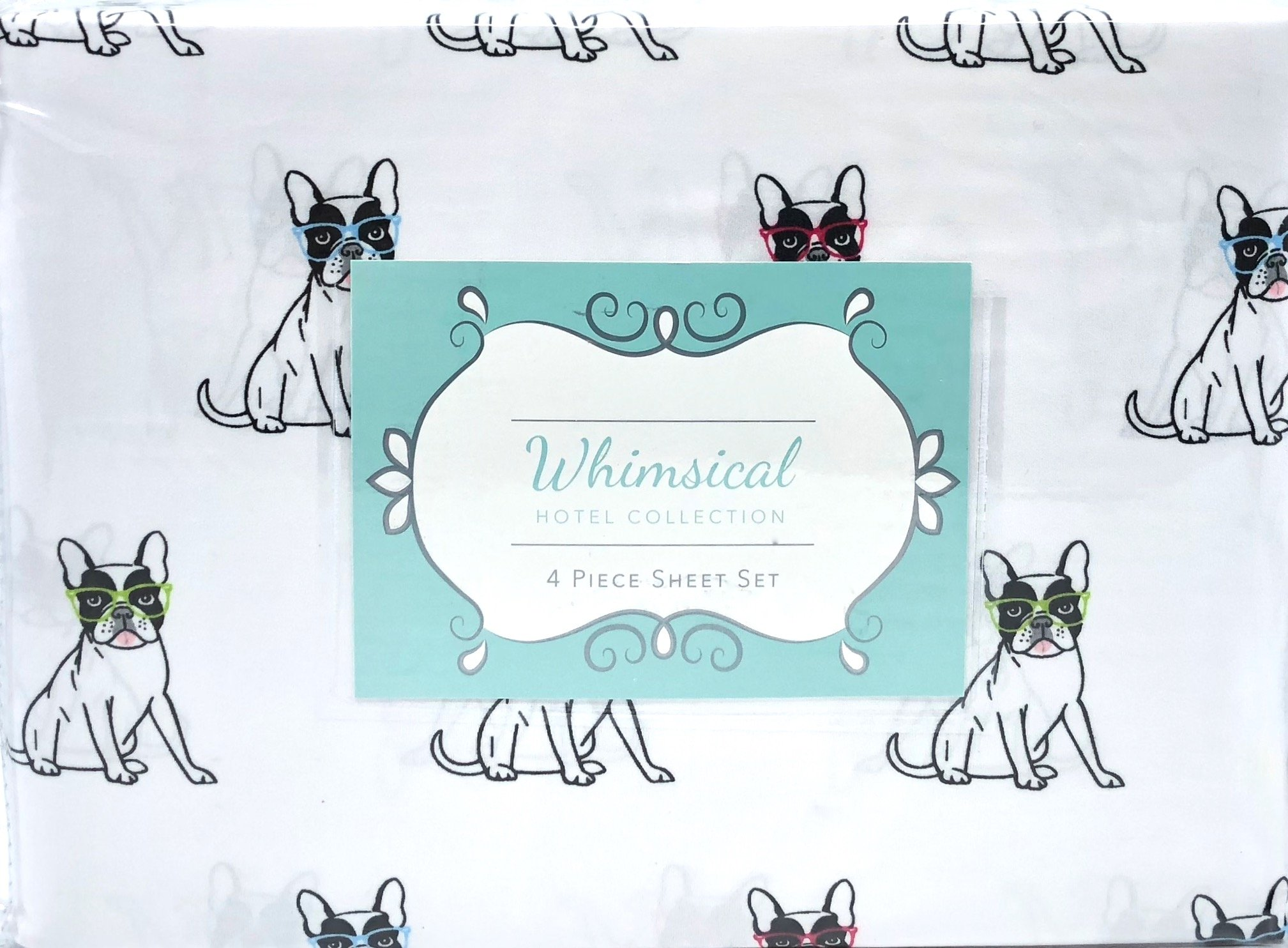 Whimsical Hotel Collection Smarty Dog Bulldog 4 Piece Full Size Sheet Set