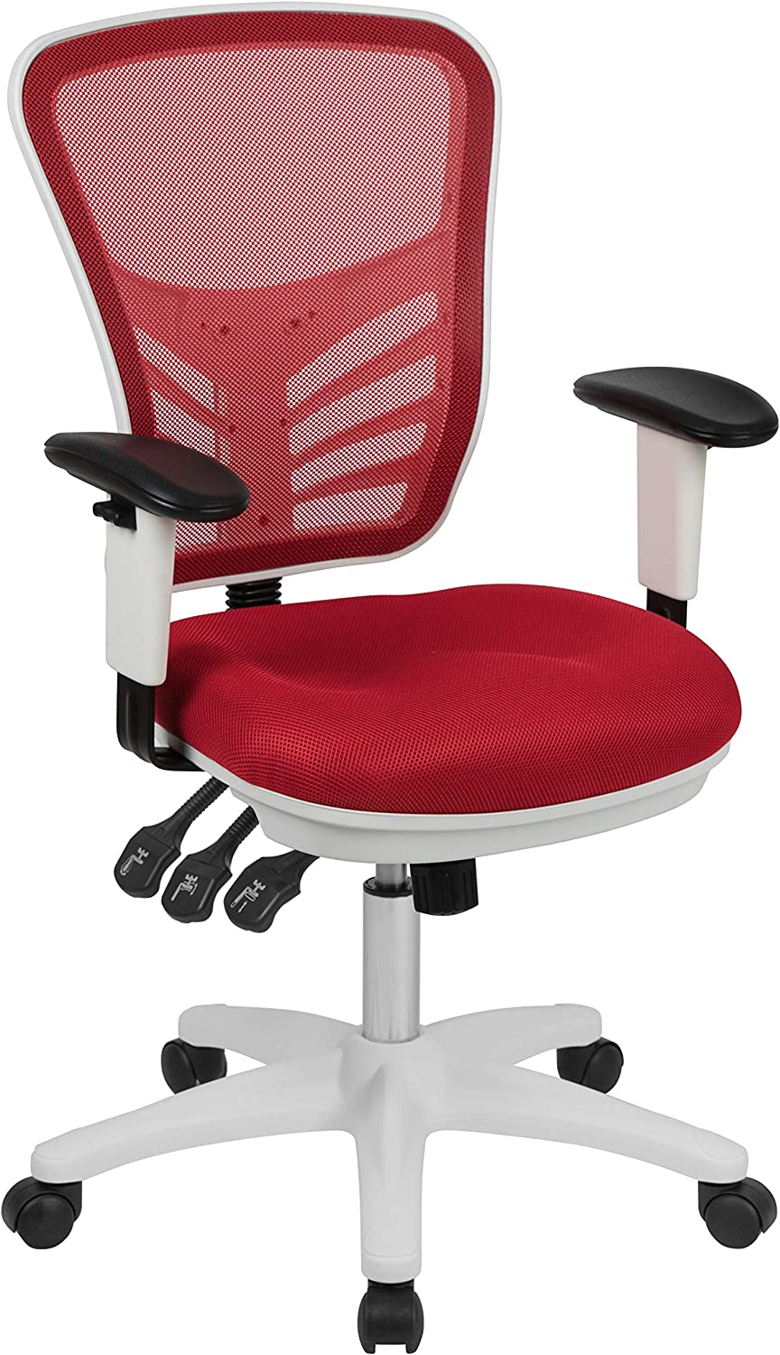 Flash Furniture Mid-Back Red Mesh Multifunction Executive Swivel Ergonomic Office Chair with Adjustable Arms and White Frame