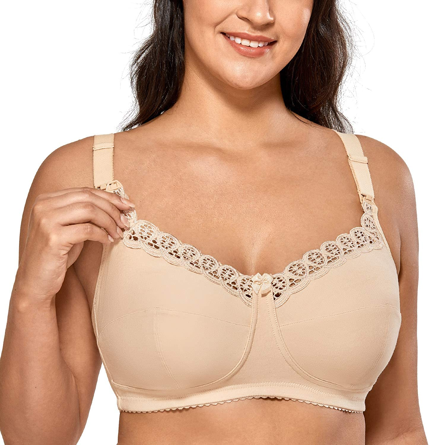 Gratlin Womens Cotton Wirefree Soft Maternity Nursing Bra with Lace Trim