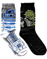 Star Wars R2-D2 Pattern and Yoda Men's Crew Socks 2 Pair Pack Shoe Size 6-12