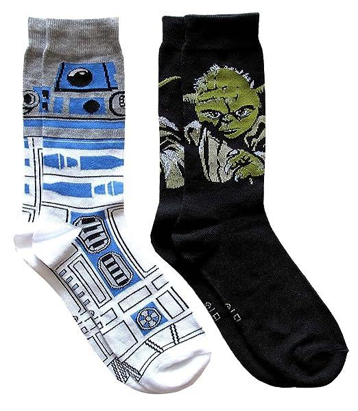 Hombre de Yoda de Star Wars R2-D2 Patrón y calcetines (2 pares) Zapatos Tamaño de la 6 - 12: Amazon.es: Ropa y accesorios