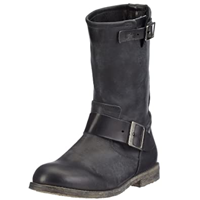 05a2294cba29fb Buffalo London Damen 13980 WASHED LEATHER Biker Boots Schwarz (BLACK 01) 37  EU