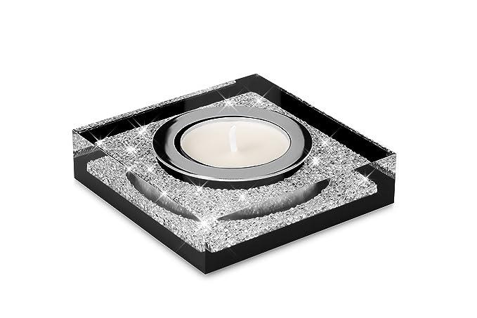 Elegante candelero para velas de té Lotus 1 con cristales de ELEMENTOS SWAROVSKI - Brillante decoración para mesas (negro): Amazon.es: Hogar