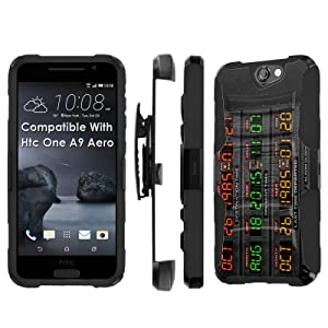 Htc [One A9] Armor Case [SlickCandy] [Black/Black] Heavy Duty Defender [Holster] [Kick Stand] - [Time Machine] for Htc One [A9 Aero]