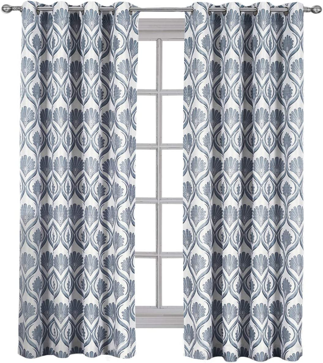 Royal Hotel Jacqueline Gray, Top Grommet Jacquard Window Curtain Panel, Set of 2 Panels, 108×120 Inches Pair