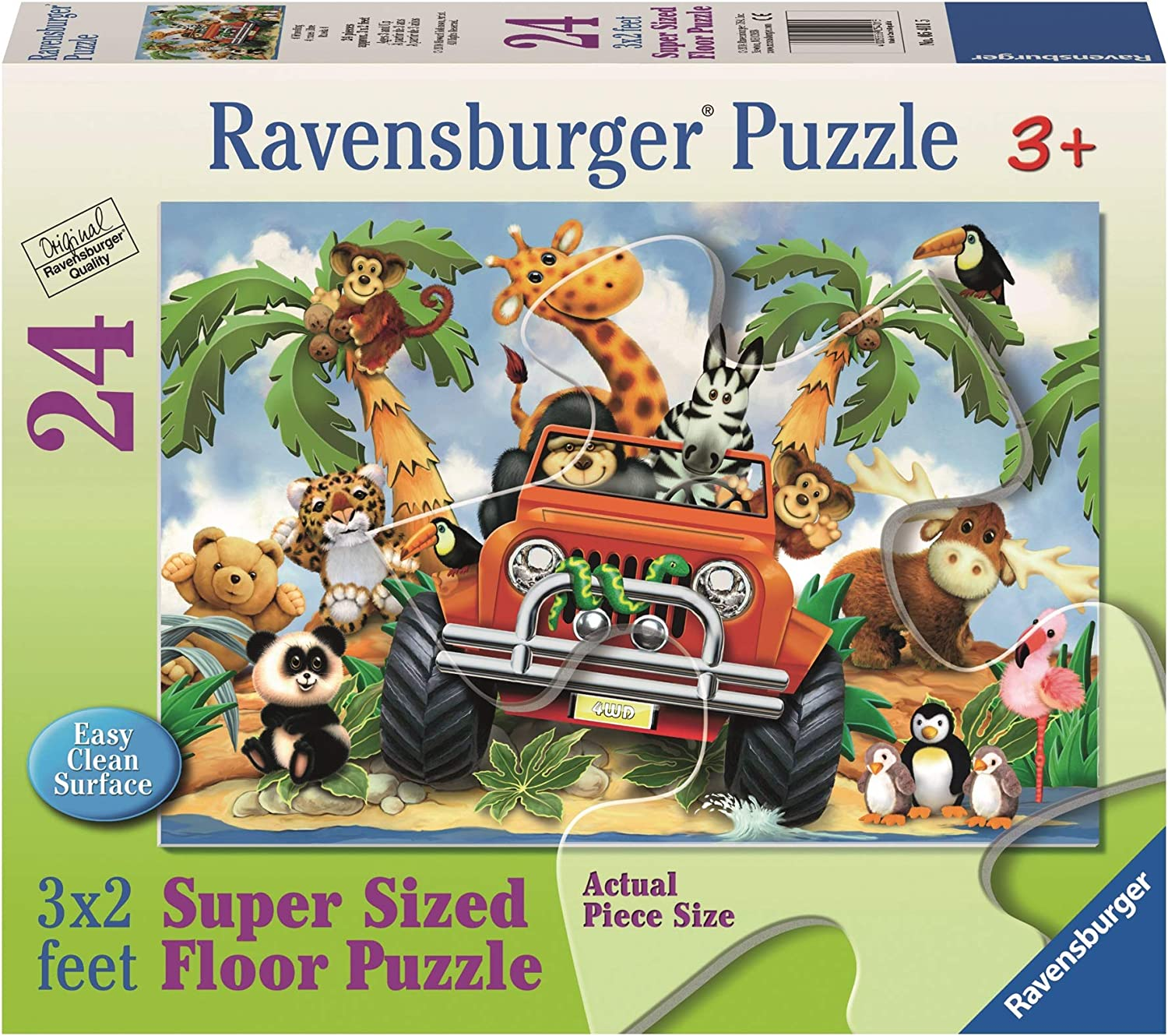 Extra-Thick Cardboard, Easy Clean Surface, 24 Pieces, 3/′ /× 2/′, Great Gift for 3, 4, and 5 Year Old Girls and Boys Ravensburger 03042 Land Ahoy 24 Piece Giant Floor Puzzle for Kids