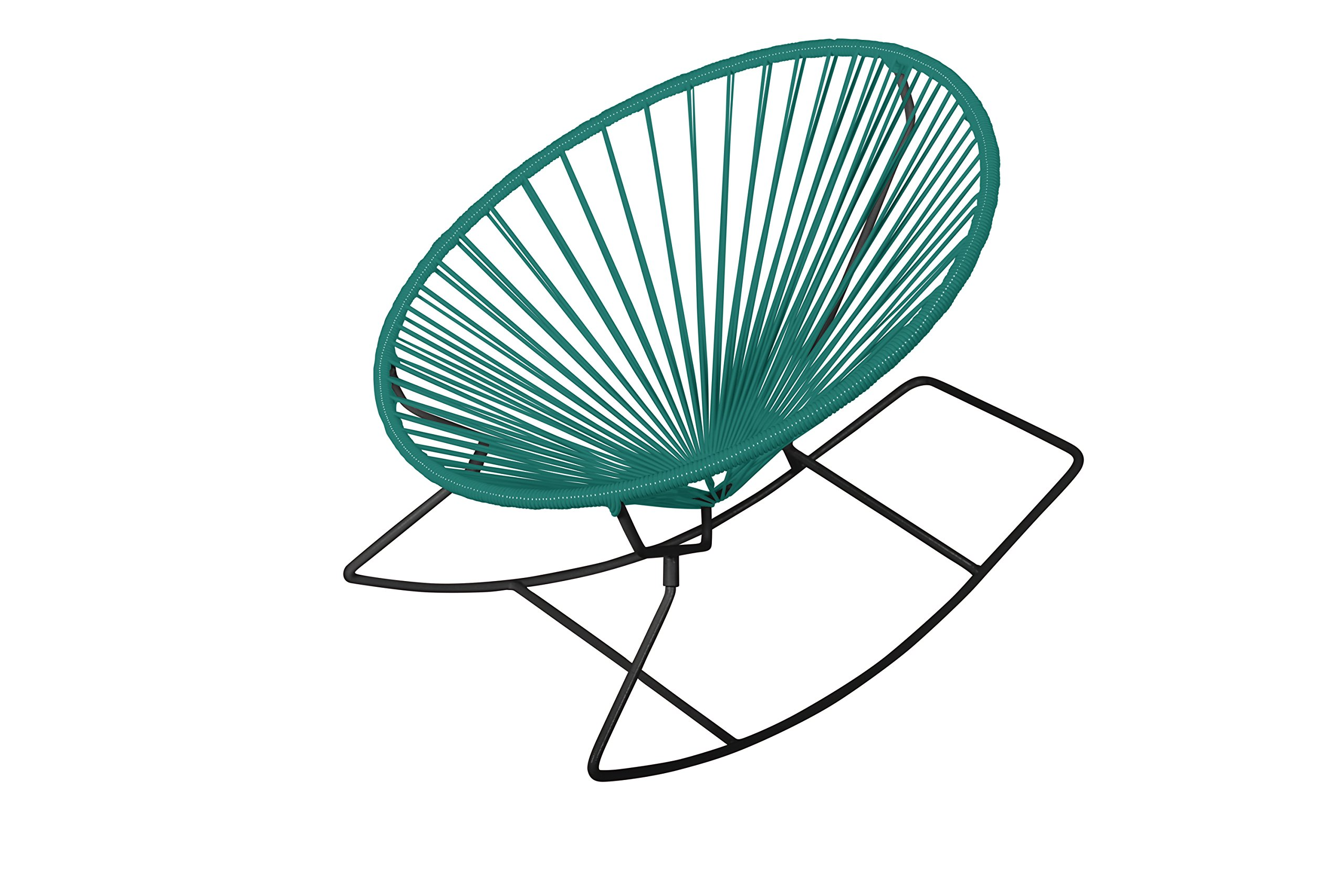 Innit Designs Rocker, Turquoise Weave on Black Frame - Indoor/outdoor rocking chair with woven UV-resistant vinyl cord for comfort and support Rust-resistant, galvanized-steel frame and semi-textured polyester powder coat Modern design; round, hoop-shaped, slightly reclined frame and rocker base; no cushion needed - patio-furniture, patio-chairs, patio - 81OuS8VzGLL -