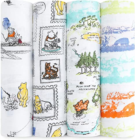 Aden + Anais Winnie the Pooh - Pack 4 muselinas, edición limitada Disney: Amazon.es: Bebé