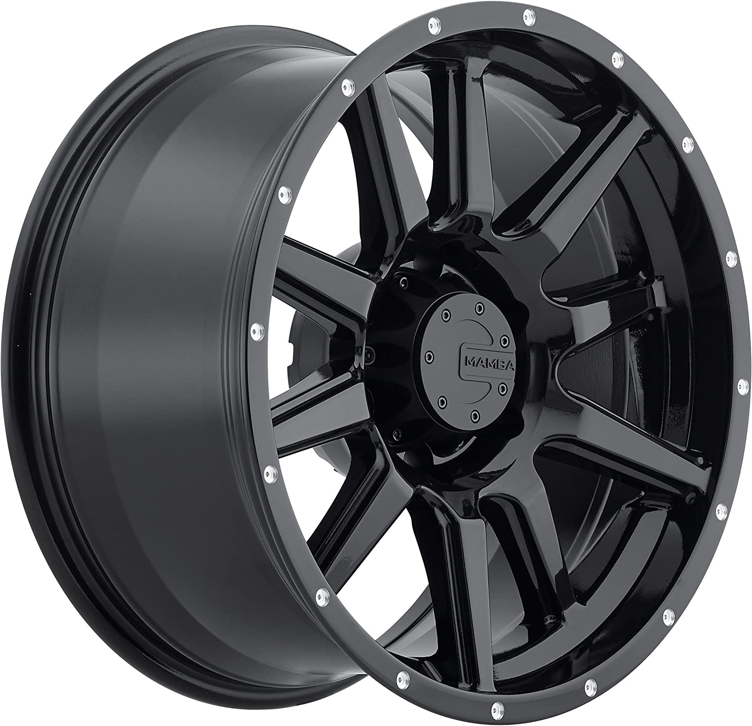 17 x 9. inches //6 x 139 mm, -12 mm Offset Mamba M15 Gloss Black Wheel with Painted Finish