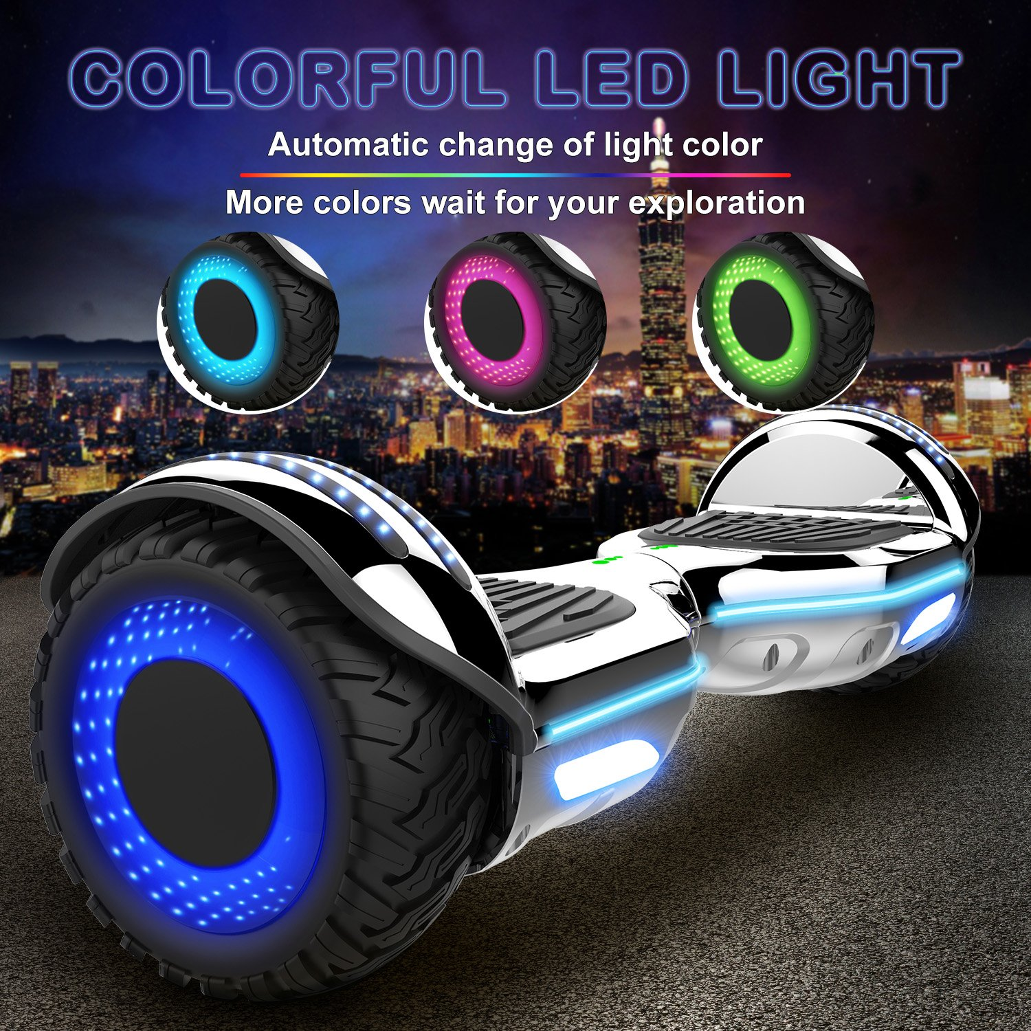 Double Hunter Self Balance Hoverboard 6.5 E-Star, Auto Balance Patinete Eléctrico, Ruedas LED Luces, Altavoz Bluetooth, Motor 700W, Modelo ES09