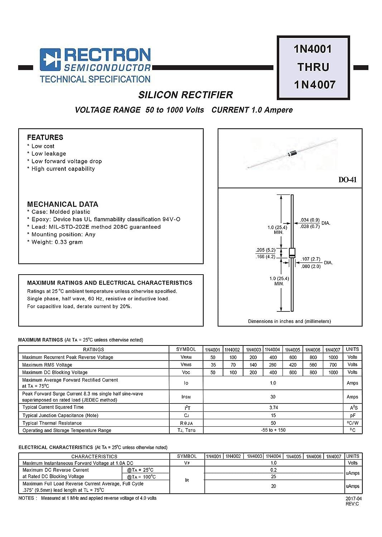 100pcs 1N4005 Diode Standard 600V 1A Through Hole DO-41