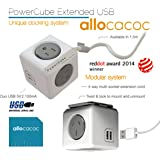 NEW Allocacoc Power Boards PowerCube 2 USB & 4 Power Outlets Grey 5400/AUEUPCGRY