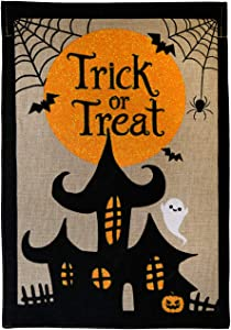 "Briarwood Lane Trick or Treat Halloween Burlap Garden Flag Haunted House 12.5"" x 18"""