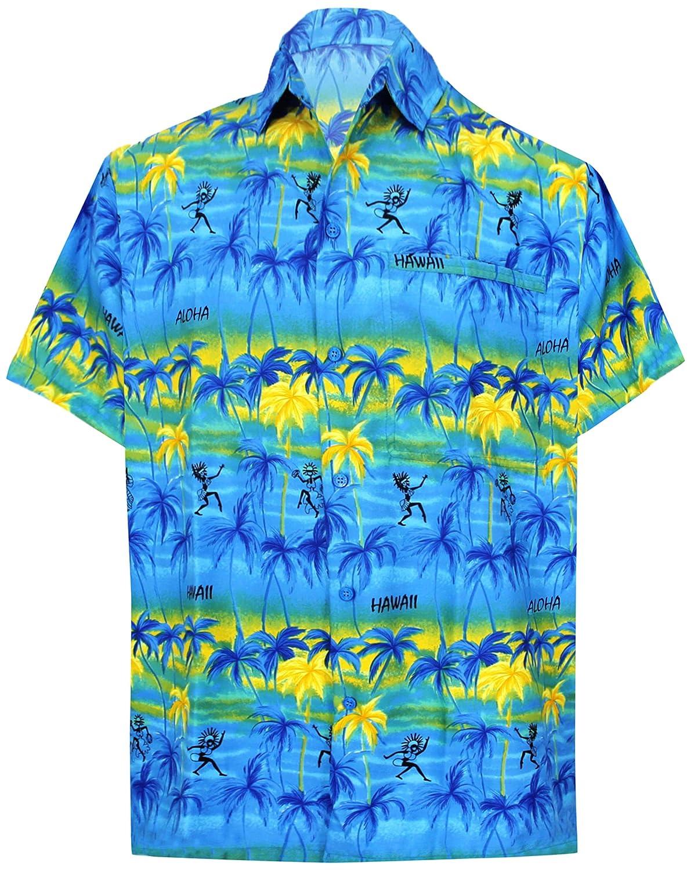TALLA XS - Pecho Contorno (in cms) : 91 - 96. LA LEELA Shirt Camisa Hawaiana Hombre XS - 5XL Manga Corta Delante de Bolsillo Impresión Hawaiana Casual Regular Fit Camisa de Hawaii Granate