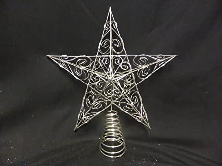 9620f8d25382 Christmas Decorations - 30cm Large Silver Star Swirls Christmas Tree Topper:  Amazon.co.uk: Kitchen & Home