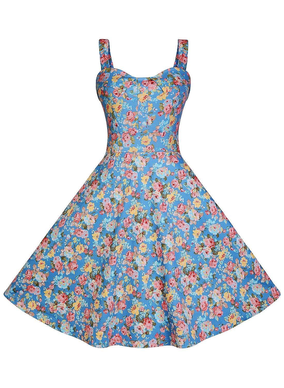 Miusol® Damen Sommerkleid Faltenrock Blume Patterned Retro Cocktailkleid 1950er Rockabilly Kleid Blau Größe 36-44