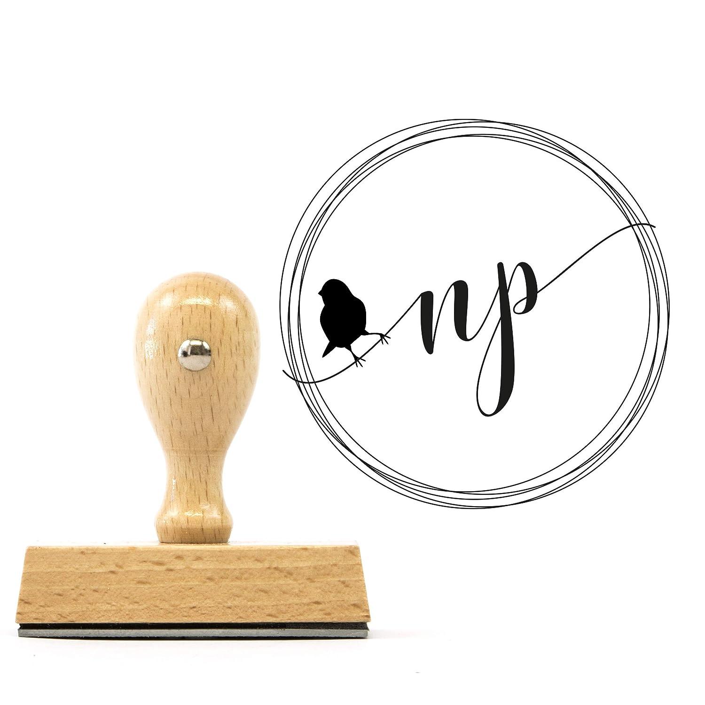 Personalisierter StempelInitial Bird mit Deinen Initialen