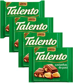 GAROTO Talento Chocolate 90 gr. each - PACK of 4. (Chocolate com Catanhas