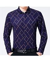 LeNG Slim NEW male fashion brand casual business slim fit men shirt camisa long sleeve argyle social shirts dress clothing Cool