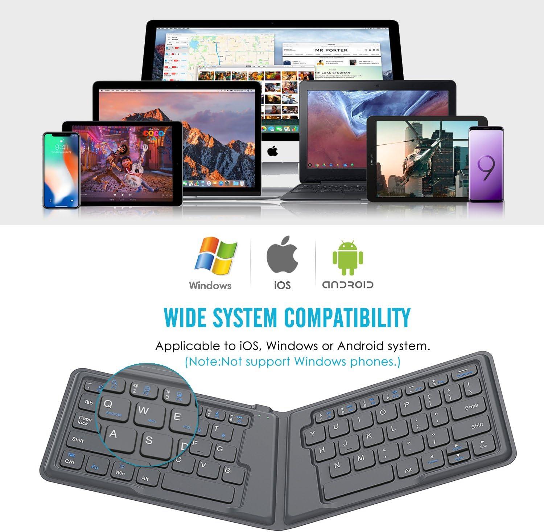 MoKo Teclado Plegable Universal,Teclado Inalámbrico Bluetooth Recargable para iPhone, iPad 9.7, iPad Pro, Fire HD 10, Versión Internacional, para iOS, ...