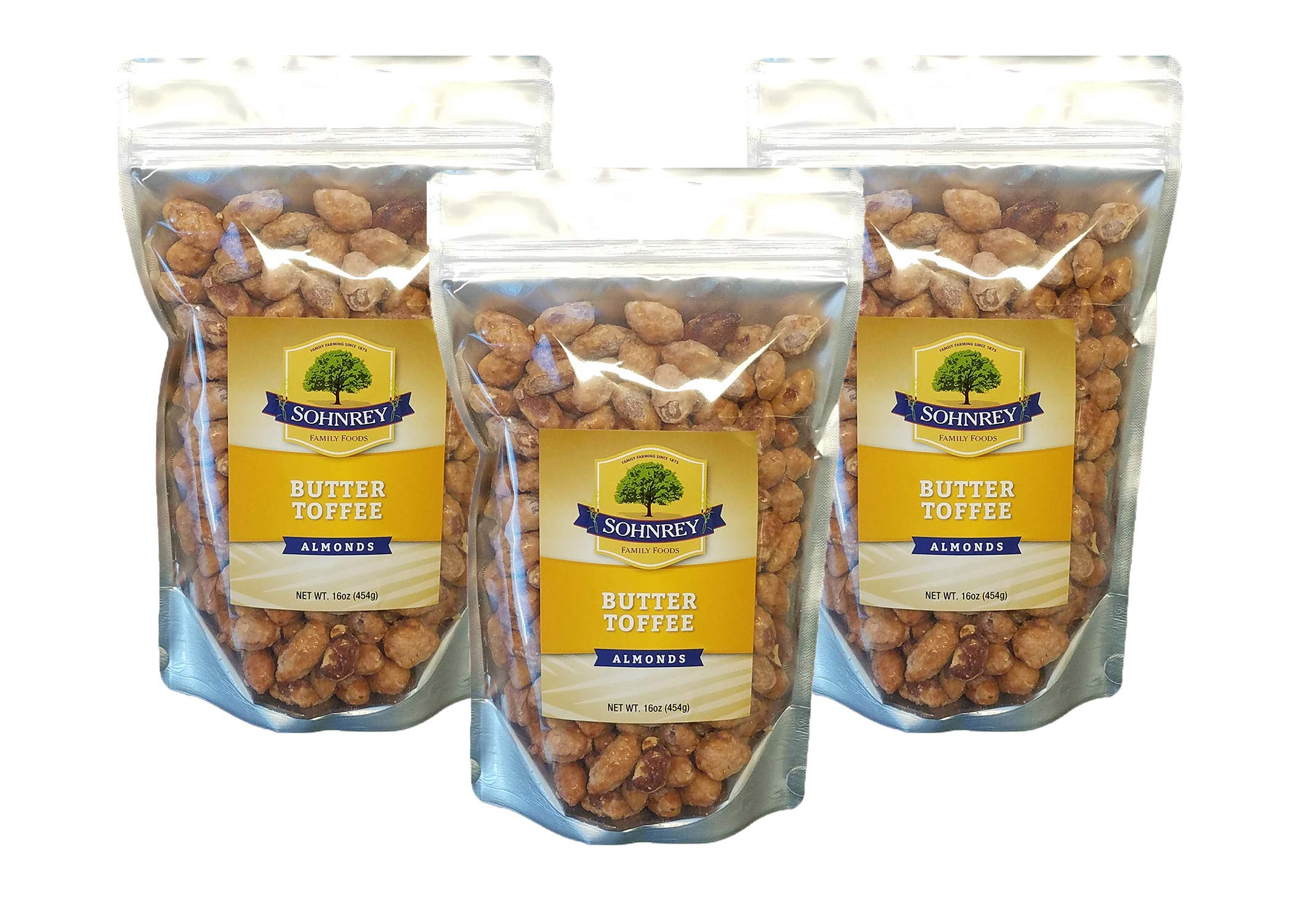 Butter Toffee Almonds Fresh Gourmet Sweet and Salty Crunch (16 oz) Resealable Bag from Sohnrey Family Foods (3-Pack (48 oz))
