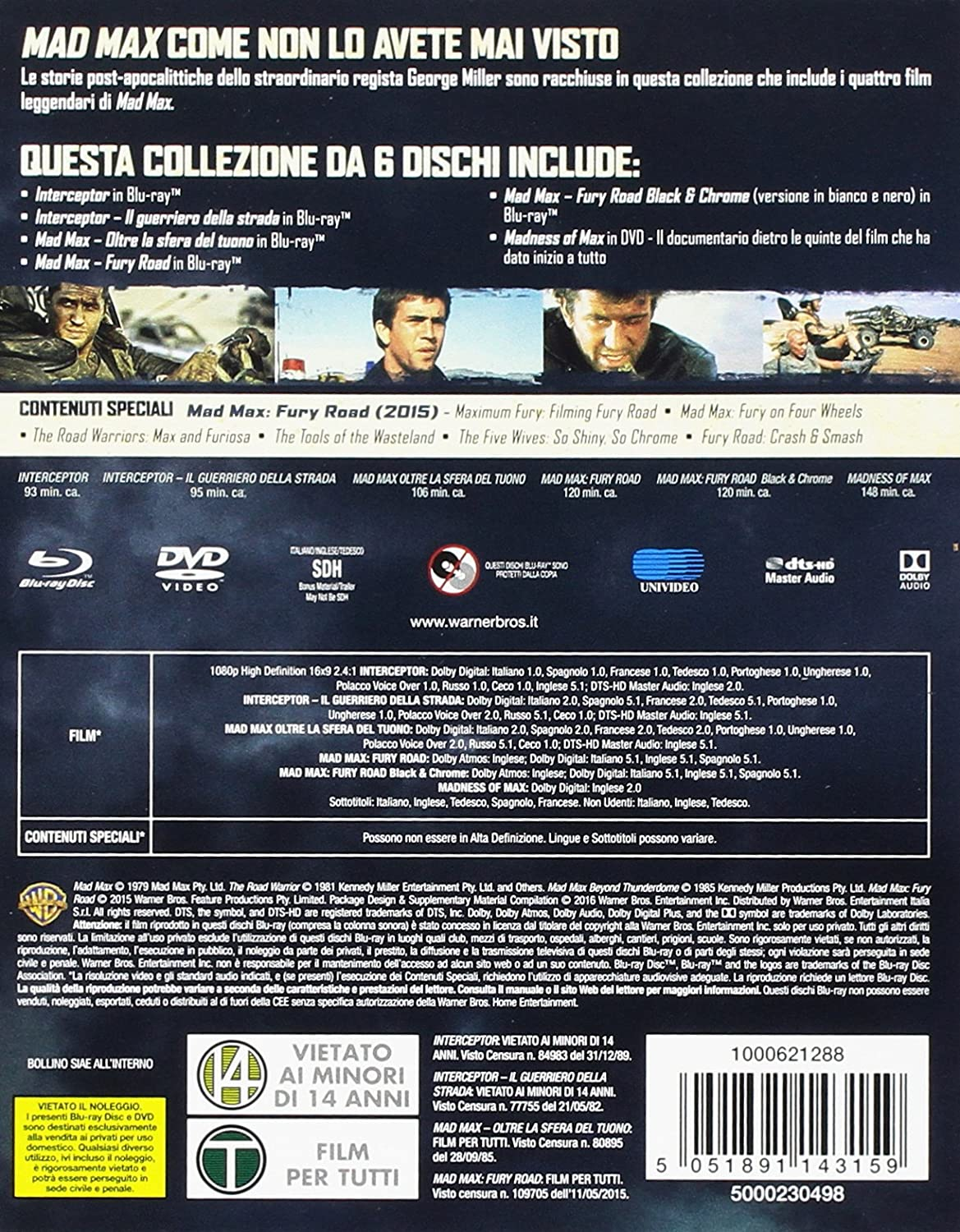 Mad Max - Anthology Ltd High Octane Edition 6 Blu-Ray Italia Blu-ray: Amazon.es: Mel Gibson, Tom Hardy, Nicholas Hoult, Maurice Jarre, Brian May, ...