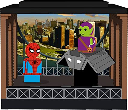Spider-Man /& Green Goblin Pin Mate Wooden Figures with Glider Bif Bang Pow