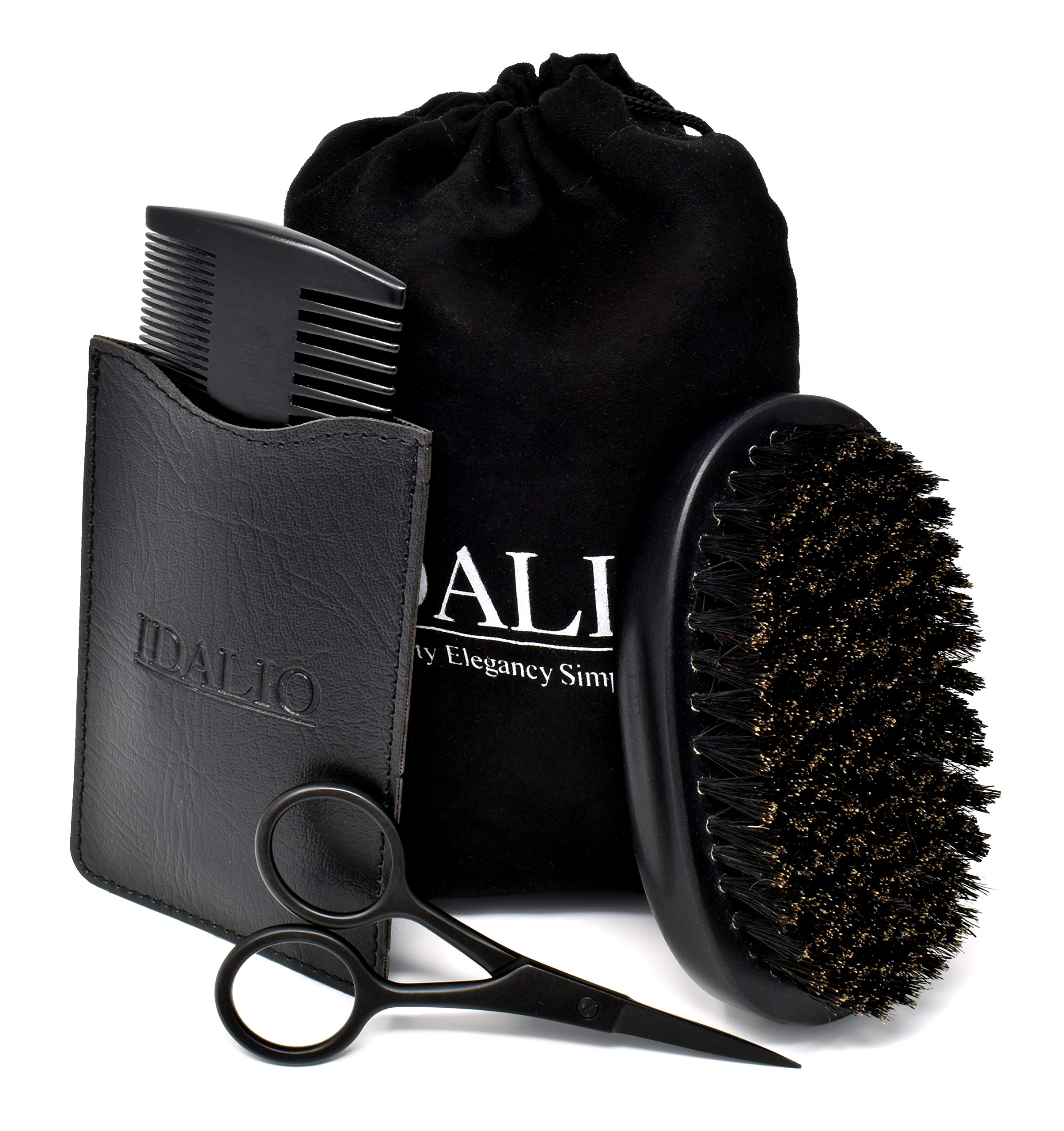 Beard Grooming Kit for Men Care with 100% Boar Bristle Beard Brush, Sandalwood Beard Comb & Stainless Steel Trimming Beard Scissors in Elegant Black Gift Box for Styling and Shaping by IDALIO