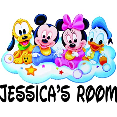 Disney Characters Character Mickey Mouse and Friends Cloud Personalized Names Nursery Nurseries Wall Art Decals For Kids Baby Toddlers / Custom Name Kid Art Decorations Cartoon Cartoons (7x10 inch): Home & Kitchen