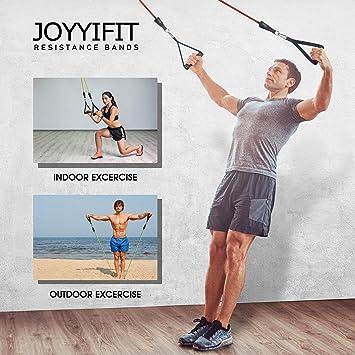 JOYYIFIT Juego de 5 bandas de resistencia, tubos de ejercicio apilables hasta 150 libras, bandas de entrenamiento con asas, anclaje para puerta, ...