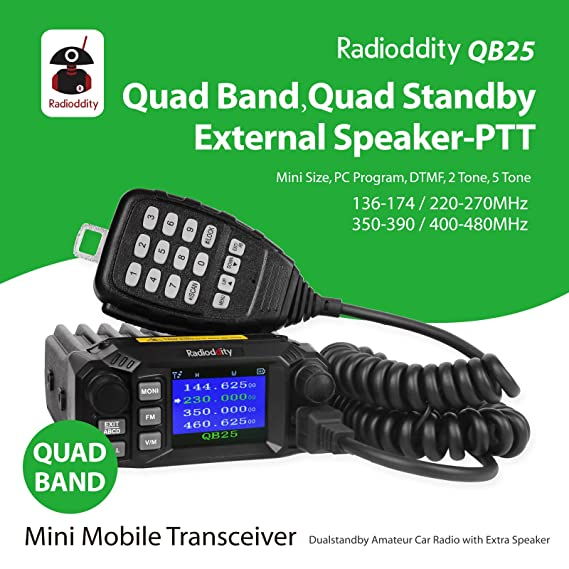 Radioddity QB25 Pro PMR Cuatribanda Quad-standby Mini Mobile Coche Truck Radio, 2 Band VHF 2 Band UHF, 25W Vehículo Transceptor with Cable & CD + 50W High ...