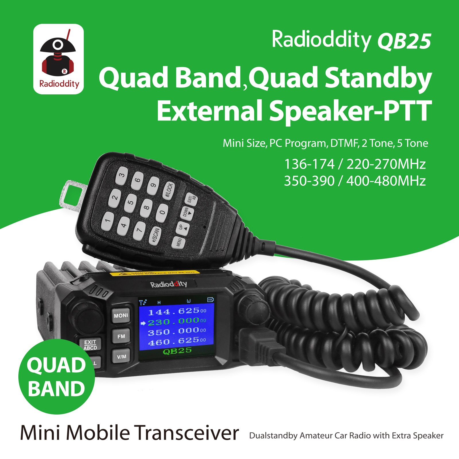 Radioddity QB25 Pro Quad Band Quad-standby Mini Mobile Car Truck Radio, VHF UHF 144/220/350/440 MHz, 25W Vehicle Transceiver with Cable & CD + 50W High Gain Quad Band Antenna by Radioddity (Image #2)