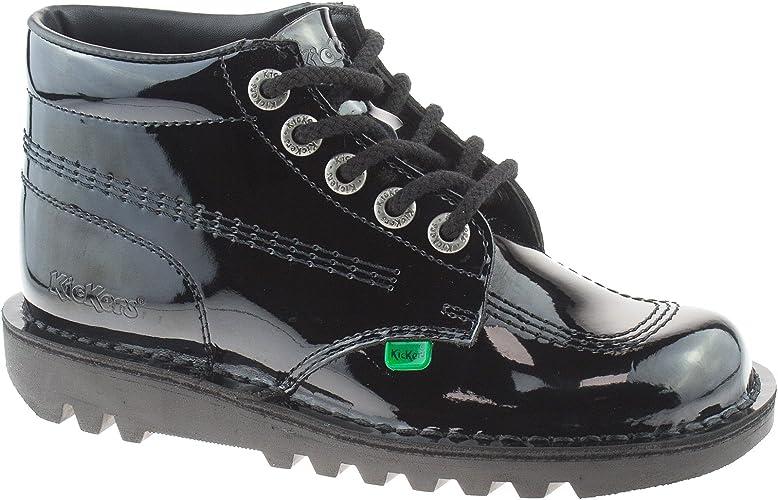 Kickers Ladies Girls Leather Black Kick