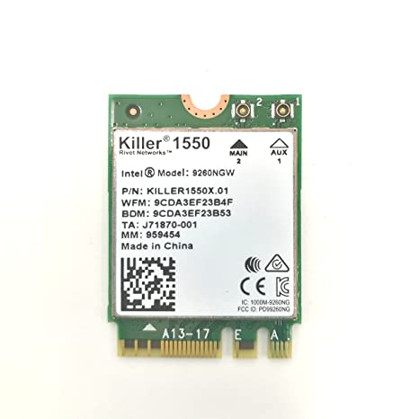 HIDevolution Killer Wireless-AC 1550 802 11ac 2x2 Wireless Card w/Bluetooth  5 0, Replacement for Killer 1535