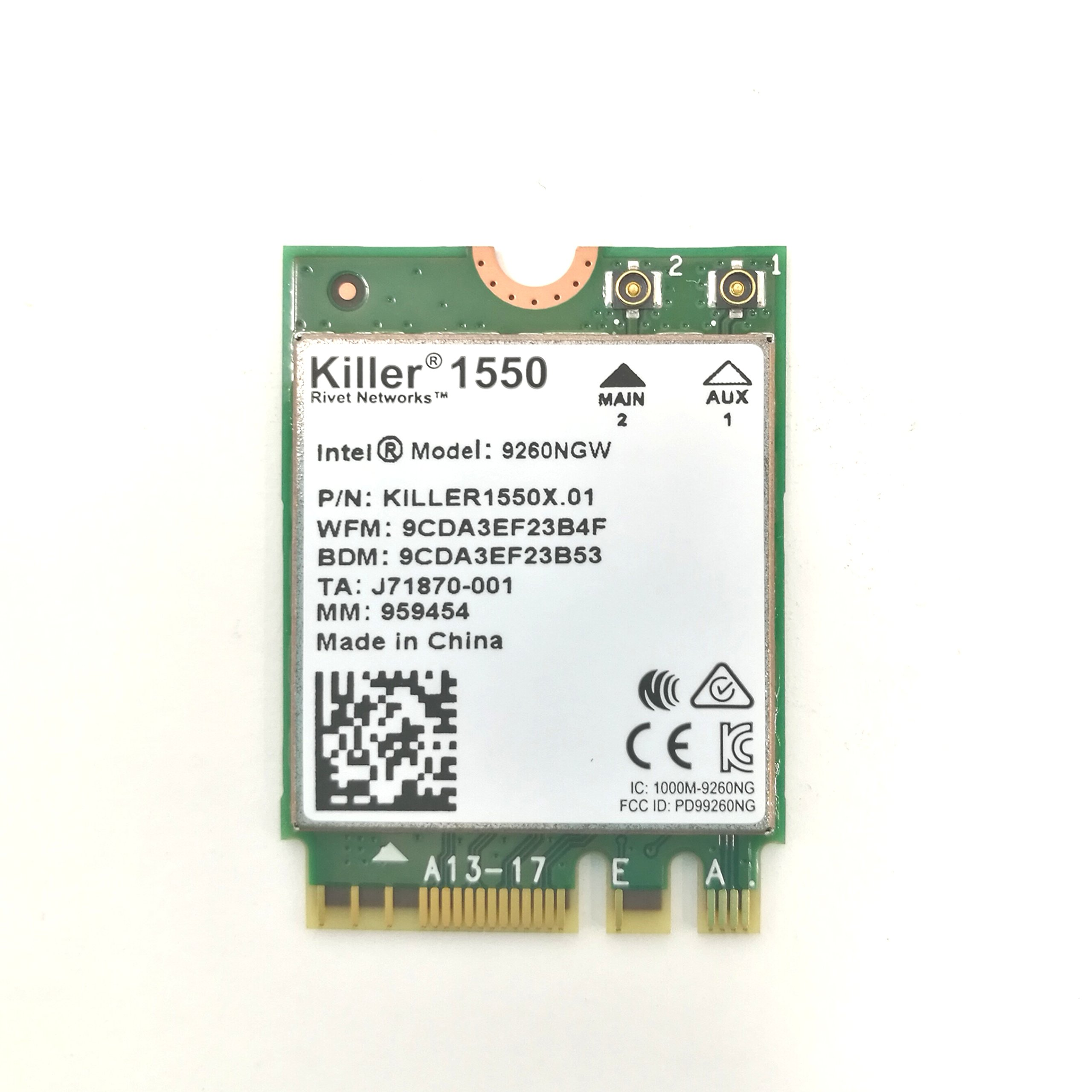 HIDevolution Killer Wireless-AC 1550 802.11ac 2x2 Wireless Card w/Bluetooth 5.0, Replacement for Killer 1535