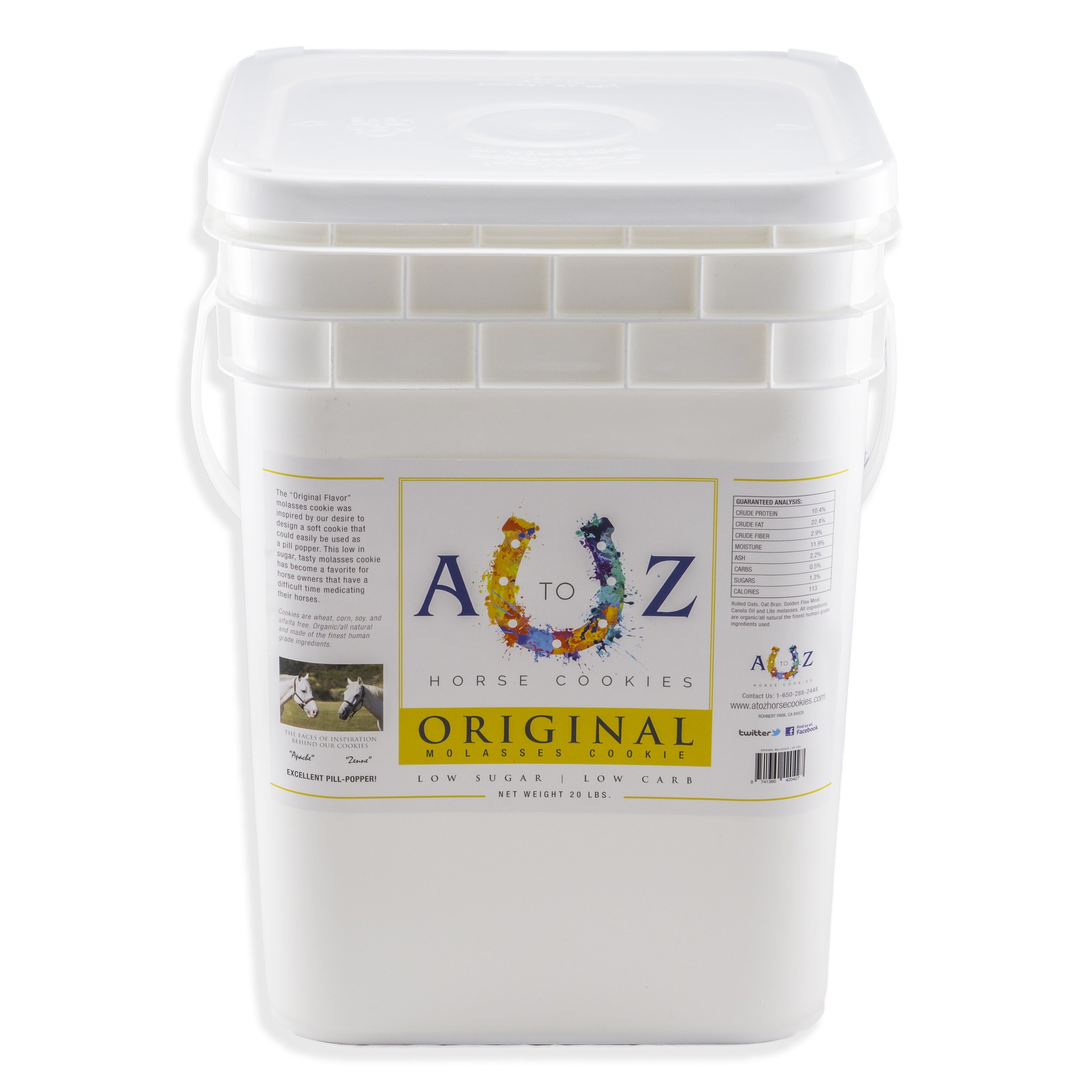 Horse Cookie Treat: Original Flavor by A - Z Horse Cookies, Low Carb Low Sugar Softer Treats, Organic, Great For All Horses And Excellent For Those With Metabolic Conditions, 20 lbs Pail