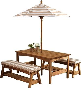 KidKraft 500 Juego de mesa y 2 bancos de madera para niños con sombrilla y cojines, muebles para jardín y exterior al aire libre - Rayas marrones y blancas: Amazon.es: Juguetes y juegos