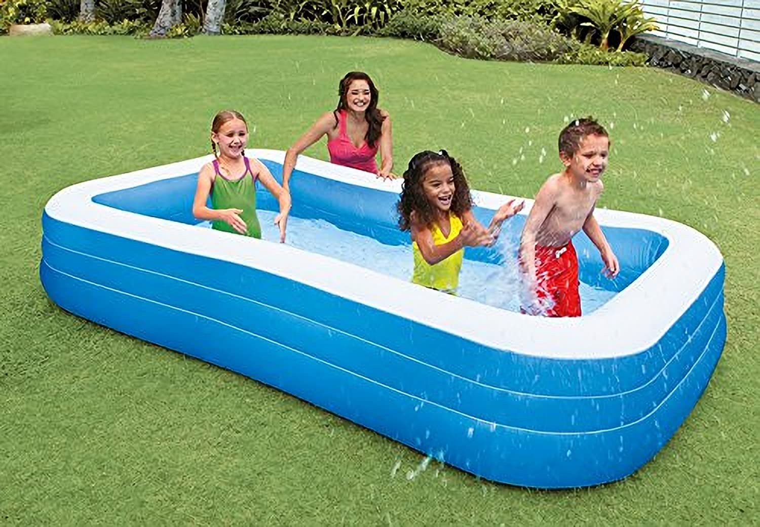 amazoncom intex swim center family inflatable pool 120 x 72 x 22 for ages 6 toys games - Rectangle Inflatable Pool