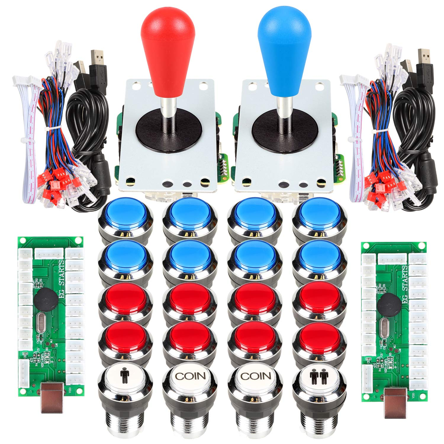 EG STARTS Arcade Gamepads & Standard Controllers DIY Games MAME Kit 2 Ellipse Oval Joystick + 20 LED Chrome Buttons (Red-Blue Colors) by EG STARTS