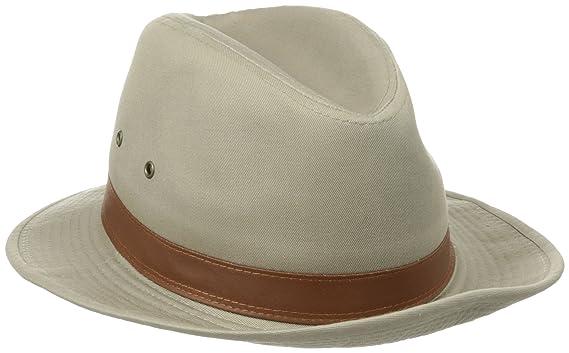 Dorfman Pacific Men s One-Piece Canvas Faux Leather-Trim Safari Hat ... c0286fe77d4
