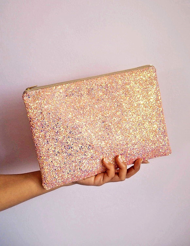 Glitter Clutch Bag in Bubblegum Pink