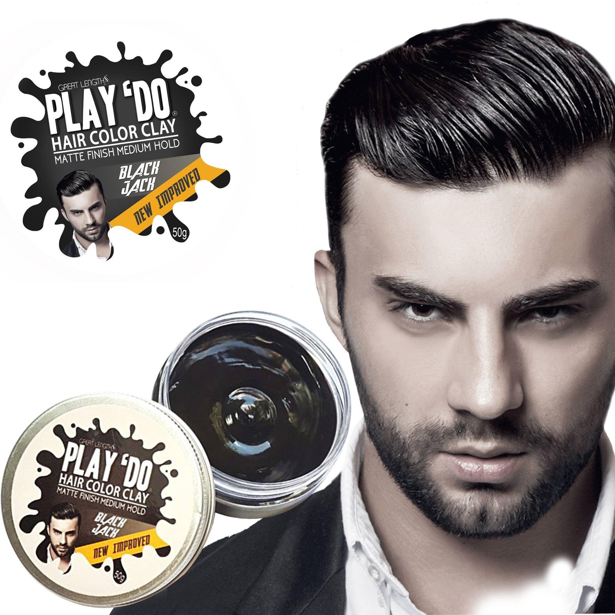 Play 'Do Temporary Hair Color, Hair Wax, Hair Clay, Mens Grooming, Pomade, Black hair dye(1.8 ounces) by Great Lengths