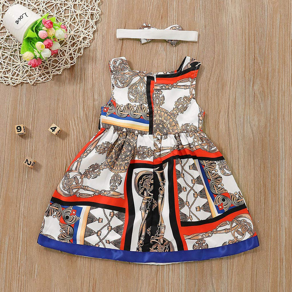 Toddler Kids Baby Girl Summer Print Princess Dress Set di Vestiti per La Fascia