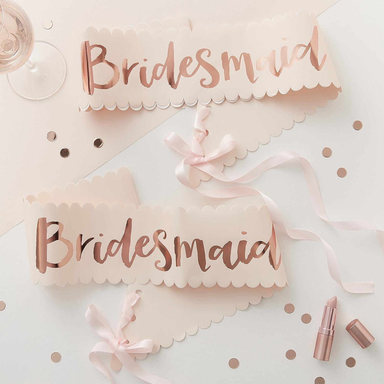 Ginger Ray Two Pack Pink /& Rose Gold Classy Designer Bridesmaid Sash Team Bride